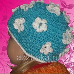Вязание детской шапочки крючком. Фото