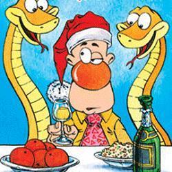 новогодние смешные открытки на го Змеи